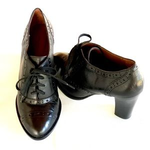 Halogen Black Leather Lace Up Loafer with Heel